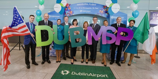Stephen O'Reilly, Aviation Business Development Manager, Dublin Airport ; Edel Redmond, Head of B2B and Partner Marketing, Dublin Airport ; Dara McMahon, Director of Marketing & Digital, Aer Lingus ; Donal Moriarty, Chief Corporate Affairs Officer, Aer Lingus ; Captain Con Murphy ; First Officer Arthur Hunter Nolan ; Cabin Crew: Jessica Rowe, Richard Flynn, Karen Haskett, Ashley Greene - DR : Aer Lingus