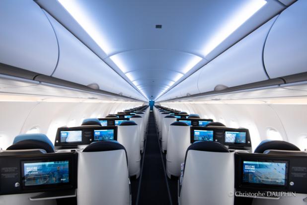 Un seul couloir, que des sièges business : bienvenue à bord des A321neo de La Compagnie © CD La Compagnie