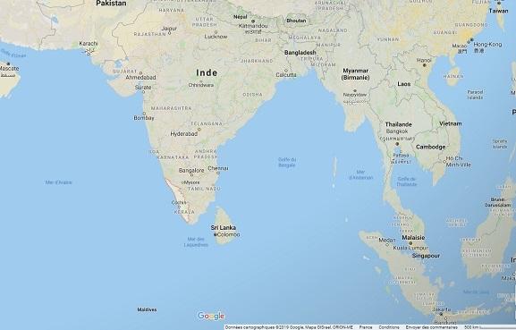 """Inde : alerte rouge """"fortes pluies"""" déclenchée dans l'état de Kerala - Crédit photo : Google Maps"""