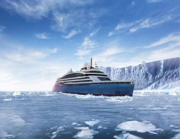 Avec deux autres Ponant Explorers actuellement en construction, ainsi  qu'un navire de haute exploration polaire à propulsion hybride (photo) attendus d'ici 2021, la compagnie n'est pas près d'achever son périple à la conquête du globe - DR : Ponant