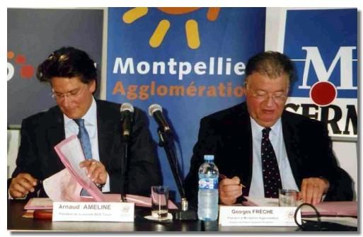 Arnaud Ameline, Directeur général de BCD Travel et Georges Frêche, président de l'Agglomération de Montpellier