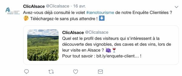 L'Observatoire Régional du Tourisme d'Alsace utilise ici des emoji qui résument l'essence de son message. Source : compte Twitter de ClicAlsace