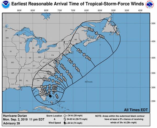 L'ouragan a été rétrogradé en catégorie 3, ce mardi 3 septembre 2019 - Crédit photo : NHC