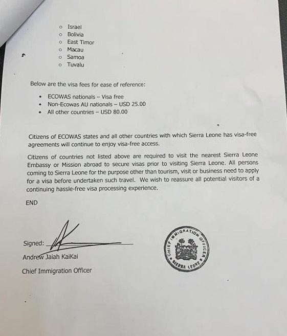 Sierra Leone : le visa peut dorénavant s'obtenir à l'arrivée