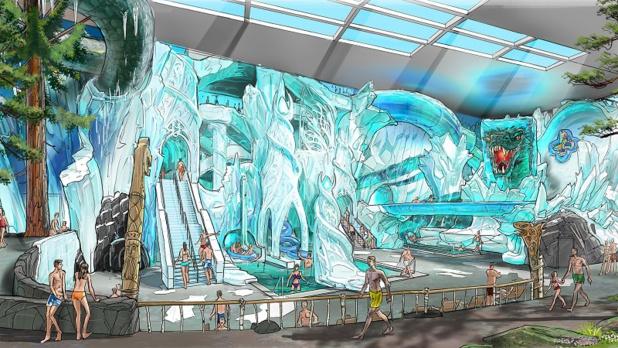 Rulantica, le nouvel univers aquatique d'Europa-Park est découpé en neuf espaces thématisés. Parmi eux, Vinterhal, le glacier gigantesque comprendra des toboggans spectaculaires, dont « Tornado Wave » - DR : Europa Park