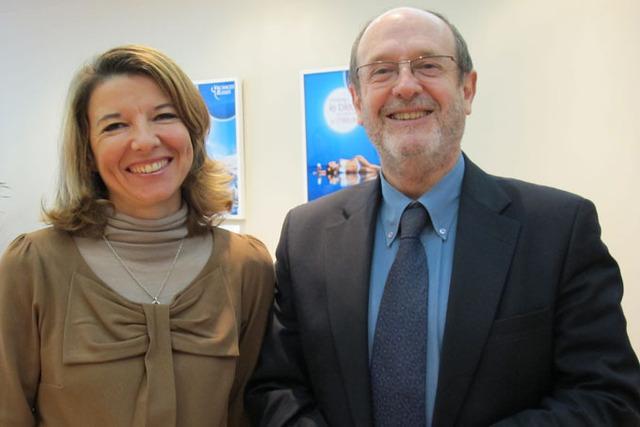 Marianne Yung, directrice marketing et communication et Jean-Louis Largeteau, président du Directoire, dans la nouvelle boutique Vacances Bleues à Marseille - DR : A.B.
