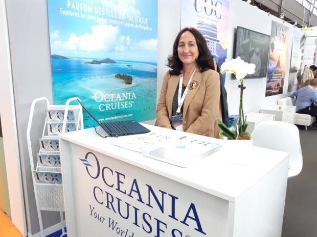 A l'espace Croisières IFTM Top Resa, Alessandra Cabella, responsable des marchés européens de la compagnie américaine Oceania Cruises - DR : M.S.