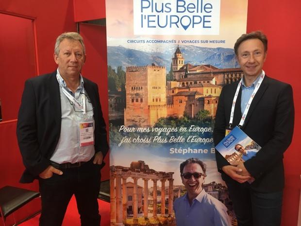 Frédéric de Fournoux, président et fondateur de Plus Belle l'Europe et l'animateur radio et TV, Stéphane Bern, mercredi 2 octobre 2019, au salon IFTM Top Resa 2019. - CL