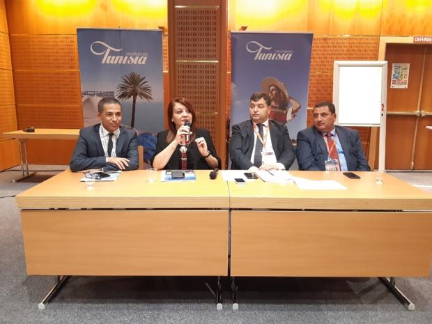 De gauche à droite, Ghazi Gherairi  Ambassadeur de la Tunisie auprès de l'UNESCO, Amel Hanachi directrice générale de l'ONTT, René Trabelsi Ministre du Tourisme et de l'Artisanat de la Tunisie et Elyes Mnakbi PDT de Tunisair. MS.