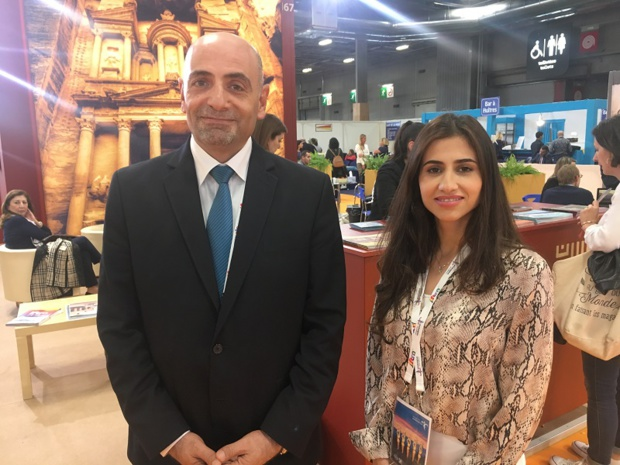 Dr. Abed Al Razzaq Arabiyat, directeur dénéral du Jordan Tourism Board  et Ruba Al-Awamleh, responsable marketing, le 1er octobre 2019, au salon IFTM Top Resa. - CL