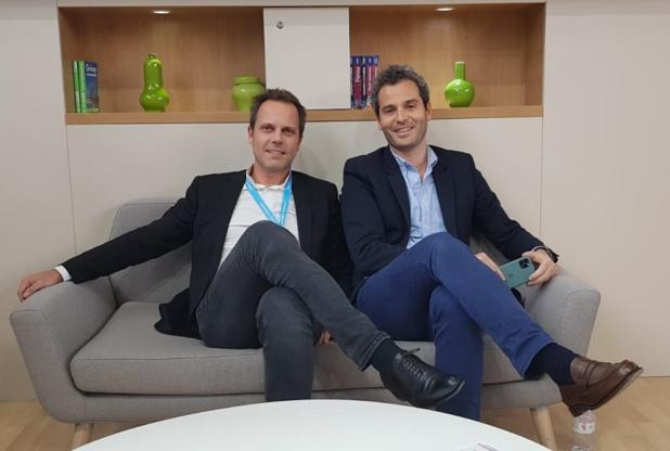 Christophe Jacquet, DG de Havas Voyages et Arnaud Abitbol vice-président exécutif de Marietton Developpement sur le stand de Havas Voyages à l'IFTM Top Resa - Photo CE