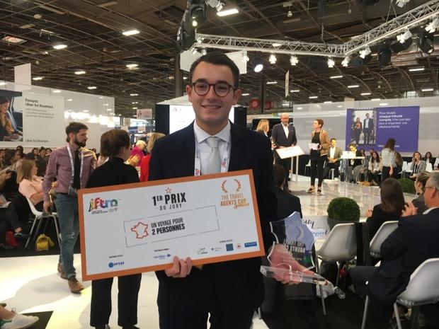 Sébastien Billard, étudiant en deuxième année de BTS tourisme à l'IMS Nantes, remporte la Travel Agents Cup Junior organisée dans le cadre de l'IFTM Top Resa 2019 - DR : C.L.