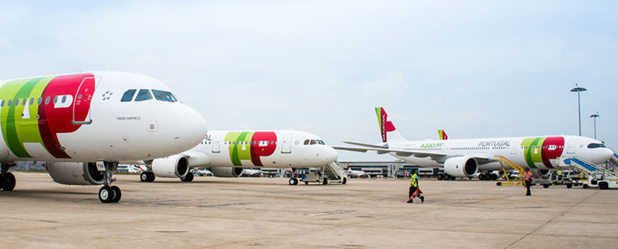 Airbus TAP Air Portugal à l'aéroport de Lisbonne. @tap air portugal