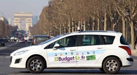 Du 7 au 23 février 2012, 300 taxis parisiens porteront les couleurs de BudgetAir.fr - Photo DR