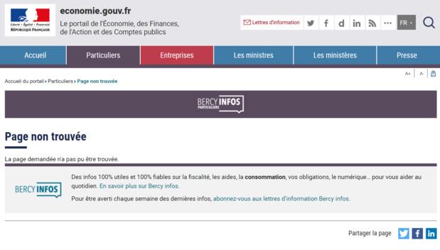 La page du site web de Bercy consacrée au Chargeback est aux abonnés absents depuis quelques jours... /capture d'écran