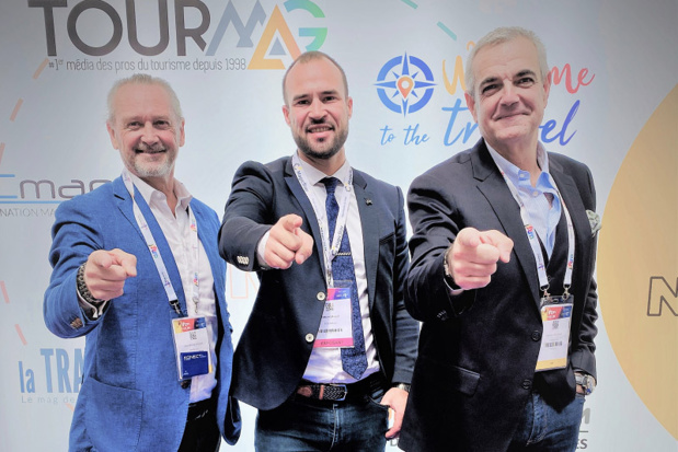Jean-Michel Roger (Konnect.agency by PromoAGV), Fabien Da Luz (TourMaG.com) et Aymeric Bécaud (Konnect.Agency by PromoAGV) - DR