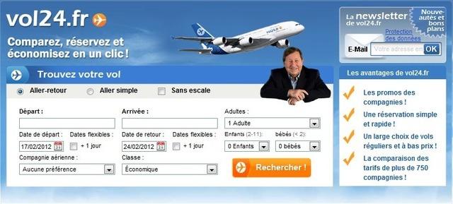 Guy Roux, nouvel ambassadeur de Vol24.fr, s'affiche en page d'accueil du site - DR