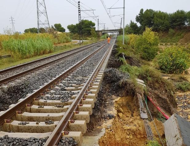 La ligne Narbonne - Montpellier sera à l'arrêt durant au moins 10 jours - DR : Twitter SNCF TER Occitanie