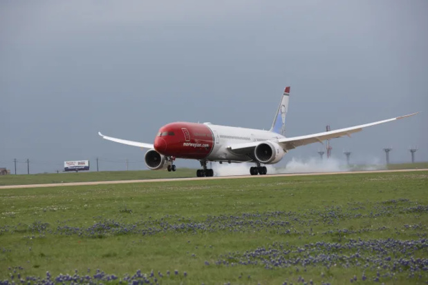 Atterissage d'un Boeing 787-Dreamliner Norwegian à Austin, Texas - DR