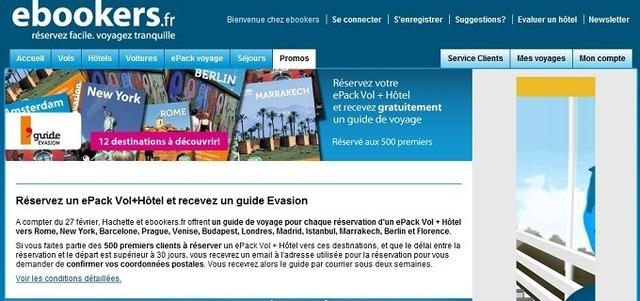 500 clients de Ebookers.fr se verront offrir les guides Evasion pour la destination choisie - Capture d'écran Ebookers.fr