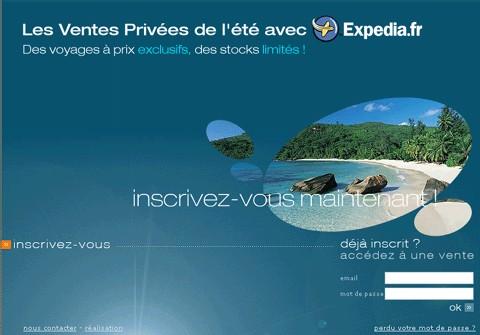 Expedia.fr lance un site de ventes privées