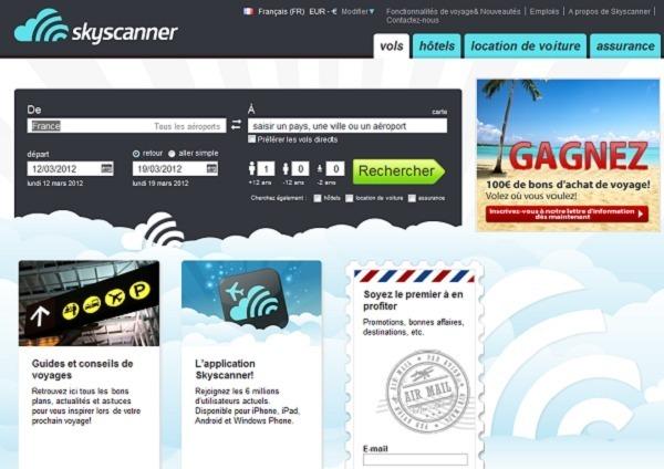Capture d'écran www.skyscanner.fr