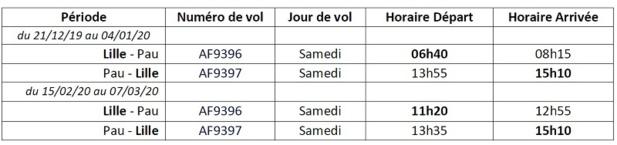 Hiver 2019 - 2020 : Air France assure des vols directs Lille-Pau
