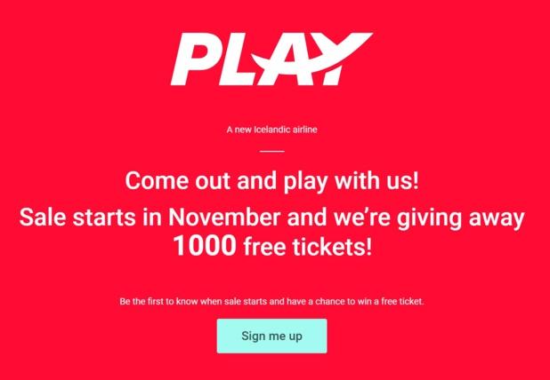 """""""Sortez et venez jouer avec nous. Les ventes commencent en Novembre et nous offrons 1000 tickets gratuits"""" à la UNE du site Play - DR"""