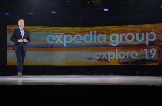 Mark Okerstrom, PDG d'Expedia, inaugurant le congrès Explore 2019, mercredi 13 novembre à Las Vegas © Expedia