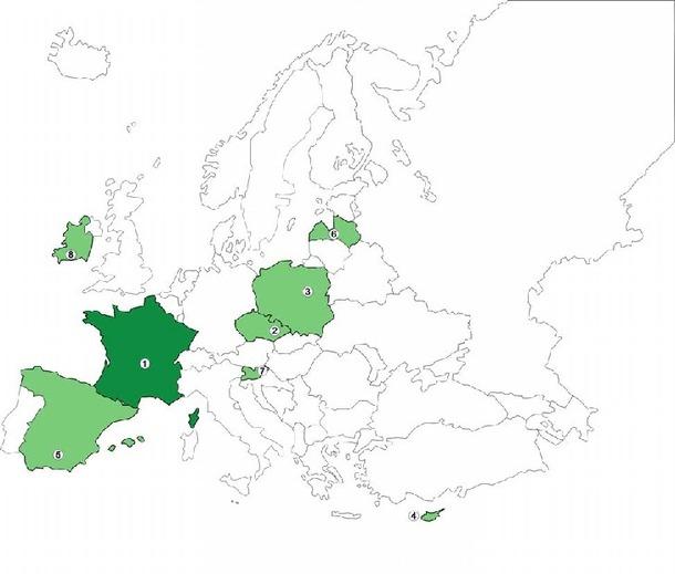 1-Comité Régional de Développement Touristique d'Auvergne (Chef de File). 2-Région d'Olomouc, République Tchèque. 3-Académie des Sciences de Pologne. 4-Agence de Développement de Troodos, Chypre. 5-Province de Grenade, Espagne. 6-Université de Lettonie. 7-Agence Régionale de Développement Mura, Slovénie. 8-Comté de Cork, Irlande
