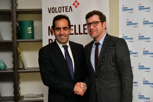Carlos Muñoz, Fondateur et PDG de Volotea et Tanguy Bertolus, Directeur du Directoire de Lyon Aéroport - DR