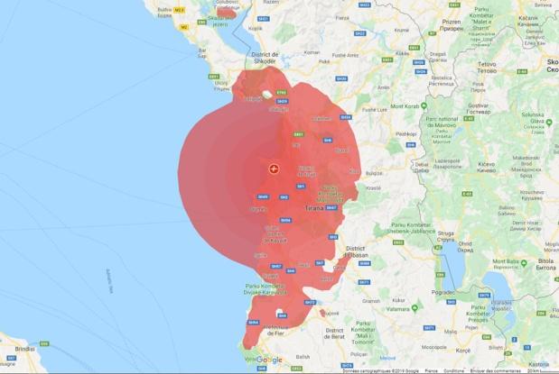 L'épicentre du séisme se situait au nord de Durrës, à 30 km de la capitale, à une profondeur de 10 kilomètres - Crédit photo : Google Maps