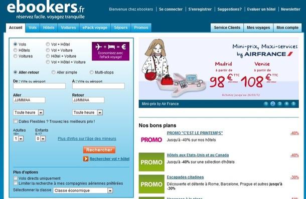 eBookers cherche à optimiser l'expérience client sur son site Internet - Capture d'écran www.ebookers.fr