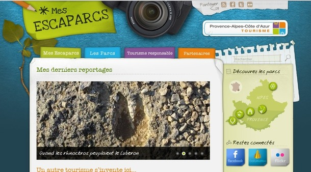 Capture d'écran du blog www.mesescaparcs.fr