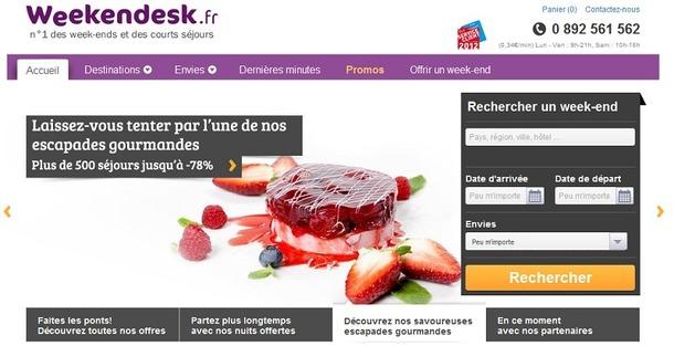Le site de Weekendesk fait peau neuve - Capture d'écran www.weekendesk.fr