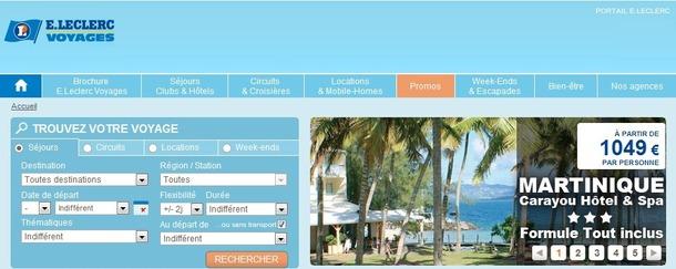 Capture d'écran de www.leclercvoyages.com