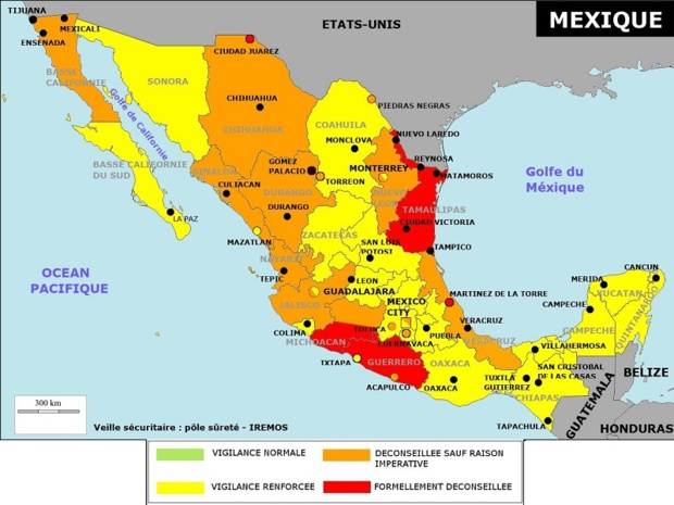 Cartographie des niveaux de risques au Mexique par Etat en décembre 2019 (cliquez sur la carte pour agrandir) - DR