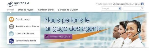 Le site de Skyteam dédié aux agents de voyages a été actualisé pour offrir plus de simplicité et d'informations à ses utilisateurs - Capture d'écran