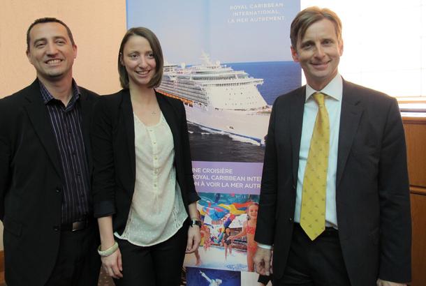 Stéphane Grillon, délégué commercial Paca ; Géraldine Farel, coordinatrice marketing France et Frédéric Martinez, DG France étaient à Marseille le 11 avril 2012 - DR : A.B.