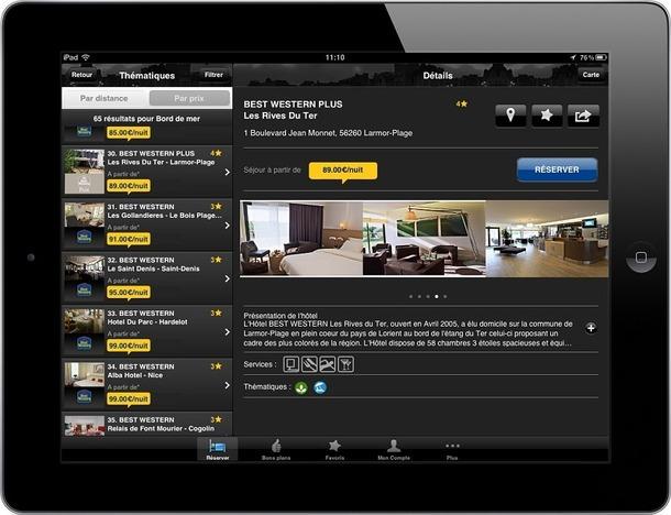La nouvelle application de Best Western France dédiée aux réservation est disponible gratuitement - Photo DR
