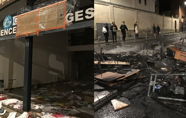 L'agence Globe Travel de Bordeaux a été totalement saccagée, le mobilier a été incendié en pleine rue, ce samedi 12 janvier 2019 - Crédit photo : Jean Sim