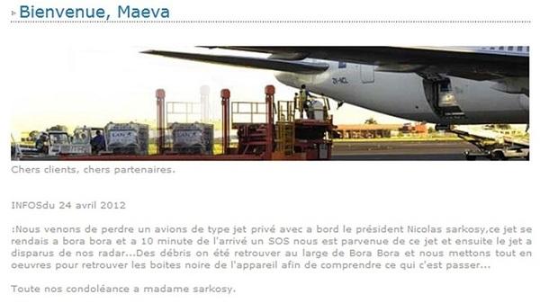 Capture d'écran du site Internet de l'aéroport de Tahiti avec le message du pirate informatique - DR
