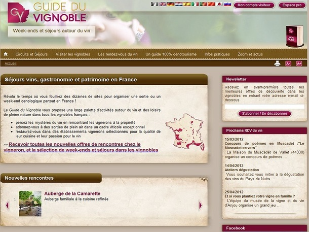 Les viticulteurs et les agences de voyages spécialisées peuvent actuellement soumettre leurs offres de séjours pour le futur service de réservation en ligne du Guide du Vignoble - Capture d'écran