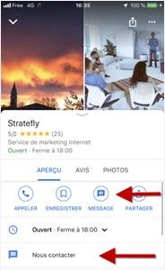 """Fonctionnalité """"Message"""" dans la fiche Google My Business de Stratefly"""