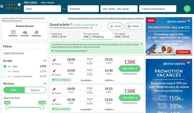 Easyvoyage propose de comparer les vols en fonction de leur émission carbone - DR