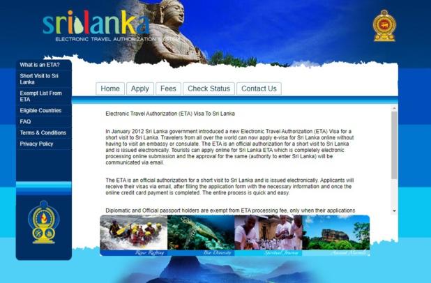 Site dédié au visa en ligne pour le Sri Lanka - DR