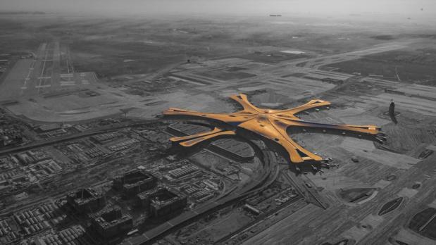 Vue aérienne du nouvel aéroport de Pekin-Daxin, inauguré fin-2019 © 王之桐 wikimedia commons