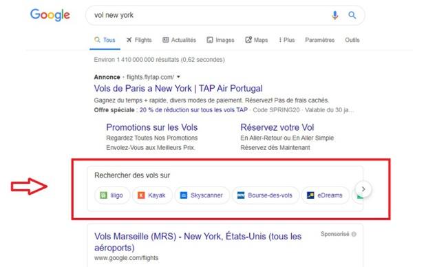 Google a fait apapraître en France une nouvelle barre dans la recherche de vols - DR