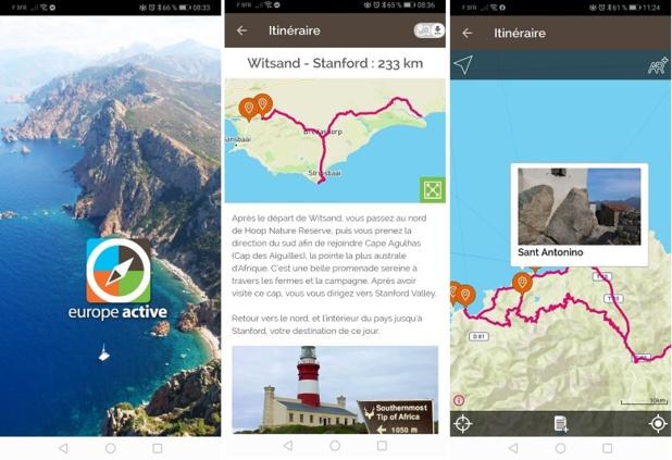 Le parcours détaillé sur une carte permet de découvrir, avant le départ, quelles sont les options pour la journée, ainsi que le suivi de la trace GPS - DR : Europe Active