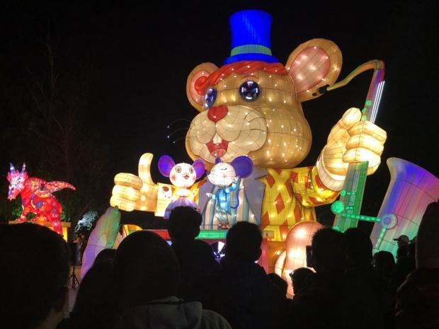 De lanternes artistiques, dont le thème est défini par le signe du zodiaque chinois de l'année en cours.à savoir le rat /crédit photo JDL